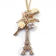 Eiffel Tower Rhinestone Keys Sweater Chain Necklace