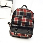 Lovely Striped Plaid Canvas Backpack