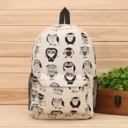 Lovely Cartoon Multi-Expression Owl Canvas Backpack