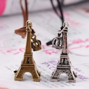 Retro Eiffel Tower Crown Leather Long Necklace