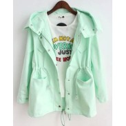 Casual Candy Colors Pocket Drawstring Hooded Coat