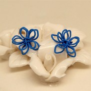 Hand Made Knitted Flower Silver Ear Stud