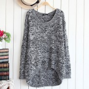 Retro Hollow Out Flower Round Neck Sweater &Cardigan