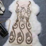 Slim Starry Embroidery Sequin Party Dress