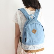Fresh Denim Bow Lace Student Backpack