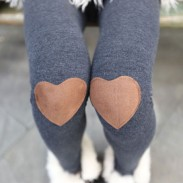 Fashion Knee Love Patch Leggings