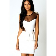 New Retro Sexy Gold Rivets Sleeve Gauze Slim Dress