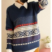 Unique Retro Pattern Weave Neck Sweaters