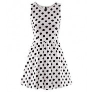 Wave Point Pattern Springy Sleeveless Flared Dress