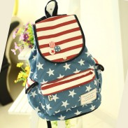 America Flag Stars Striped Students Canvas Backpacks