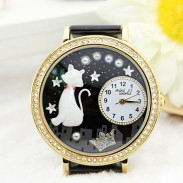 Lovely Cat Crown Pearl Rhinestone Trim Watch