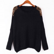 Classic Bat Sleeve Rivets Chain Pullover Sweater