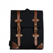 Retro Drawstring Double Hasp Square Canvas School Bag College Backpack
