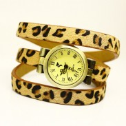 fashion leopard 3 circle wrap retro watch