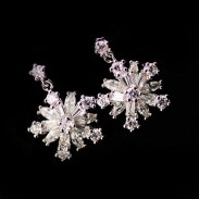 Fashion Snowflake Rhinestone Silver Earrings Studs