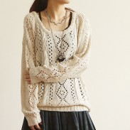 Retro Round Neck Hollow Out Sleeved Sweater&Cardigan