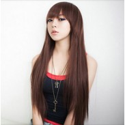 Fresh Natural Brown Long Straight Hair Wigs