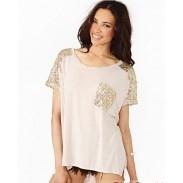 Gold Sequins Stitching Loose Casual Round Neck T-shirt