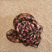 Fashion Floral Lily Printed Chiffon Infinity Scarf