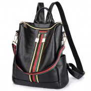 Retro Green Red Stripe Double Zipper Girl's PU Multifunction Handbag Shoulder Bag School Backpack