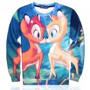 Lovely O-neck Cartoon Kiss Deers Pattern Long Sleeve Loose Top
