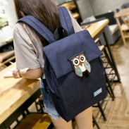Large Owl Solid School Rucksack Leisure Waterproof Travel Canvas Backpacks