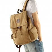 Retro Flap Drawstring School Backpack Large Khaki Men's Travel Thick Canvas Backpack