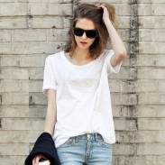 Casual Simple Solid Round Neck Cotton Short Sleeve T-shirt