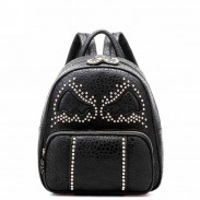 Fashion Rivet Bat Pattern Leather Backpack