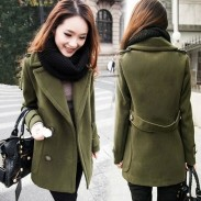 Retro Button Cloak Women Woolen Coat