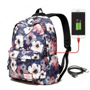 Unique Flower School Bag Large Floral Polyester Student Backpack