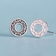 Folk Style Solar Totem Round 925 Silver Couple Earrings