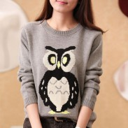 New Owl Print Cartoon Knit Sweater