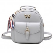 Fashion Bow College Multifunction Bag Front Belt Handbag Metal Lock Shoulder Bag Small Backpack