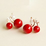 Lovely Cherry Pearl 925 Silver Ear Clips/ Studs