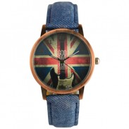 UK Flag Denim Pattern Strap Retro Watch