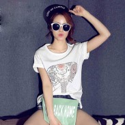 Leisure Loose Elephant Pattern Crimping Short-sleeved Round-neck T-shirt