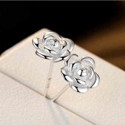 Fashion Rose Flower Shaped Bauhinia Silver Earrings Studs
