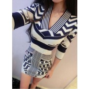 Sexy Tight Slim Long-sleeved Knit Sweater Package Hip Dress