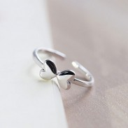 Sweet Lovely Sterling Silver Two Heart Bow Polish Opening Ring