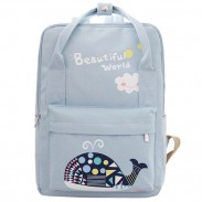 Beautiful World Cartoon Fresh Canvas Rucksack Whale Flower Printing School Bag Backpack