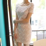 Strapless Lace Collar Sexy Package Hip Skirt