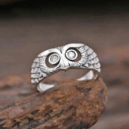 Retro Silver Animal Ring Creative Diamond Owl Ring