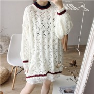 Casual Simple Loose Sweater Love Hollowed-out Flower Design Dress Sweater