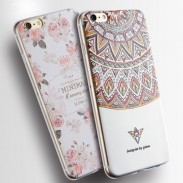Rose Floral Triangle Totem Painted Relief Silicone Fresh IPhone 6 Cases