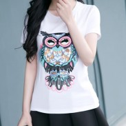 Leisure Sequins Cartoon Embroidered Owl Pattern White Cotton T-shirt