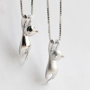 Naughty Sterling Silver Kitten Swinging Pendant Lovely Animals Necklace