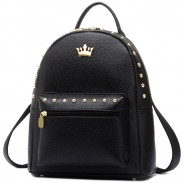 Leisure Lady Rucksack Punk Crown Rivet PU School Backpack