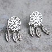 Folk Tassel Hollowed-out Retro Dream Catcher Feather Silver Girl's Earring Studs