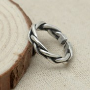 Retro Thai Silver Handmade Braided Open Ring